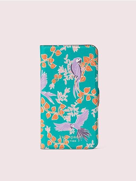 ケイトスペード モバイルケース アイフォン ケース ジャングル パーティー マグネティック フォリオ 11 GREEN MULTI kate spade ケイト スペード