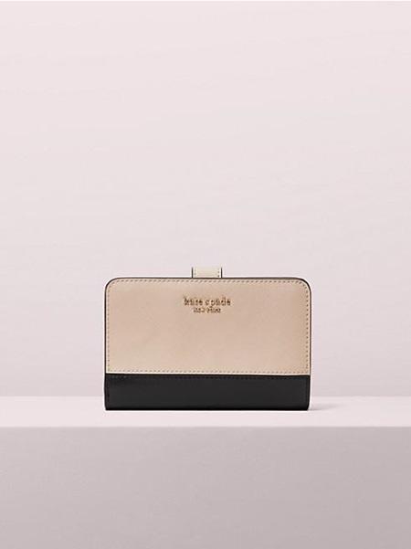 ケイトスペード 折財布 スペンサー コンパクト ウォレット WARM BEIGE/BLACK kate spade ケイト スペード