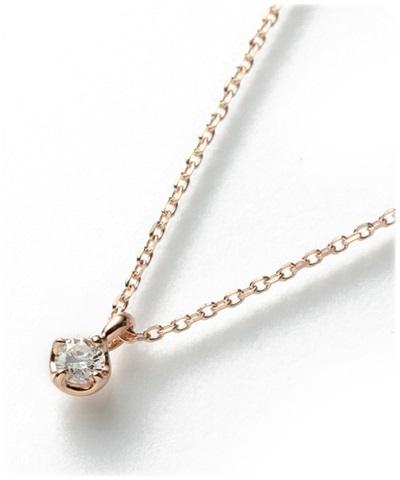 4℃ ヨンドシー K10PGダイヤモンドネックレス