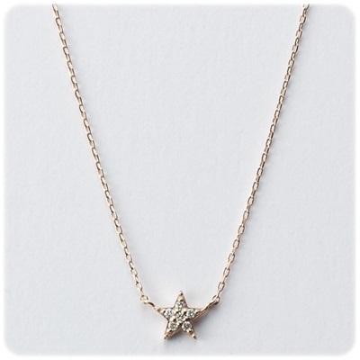 4℃ ヨンドシー K10イエローゴールド星ダイヤモンドネックレス