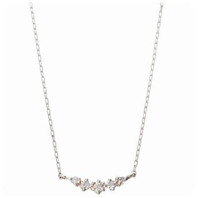 4℃ ヨンドシー Plus one K10ダイヤモンド5粒ネックレス イエローゴールド