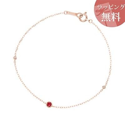 ヨンドシー ブレスレット K10ピンクゴールド 1月誕生石 ロードライトガーネット ダイヤモンド 4℃ レディース ジュエリー