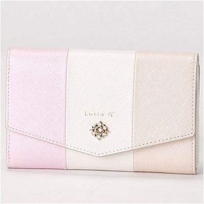 ルリアヨンドシー Luria 4℃ 三つ折り財布 ピンクゴールド