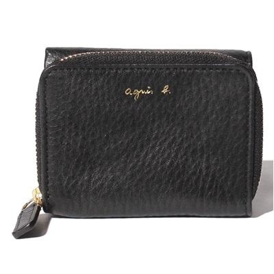 アニエスべー 財布 折財布 三つ折り ラウンドジップ ブラック agnes b アニエス ベー ボヤージュ