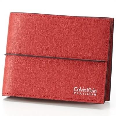カルバンクライン スパイン 二つ折り財布 レッド