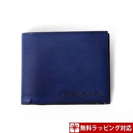 カルバンクライン 財布 メンズ 折財布 ハンク 二つ折り財布 ブルー CalvinKlein カルバン クライン ck