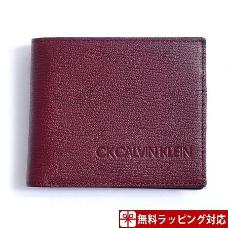 カルバンクライン 財布 メンズ 折財布 ロック 小銭入れ着脱式 二つ折り財布 ボルドー CalvinKlein カルバン クライン ck