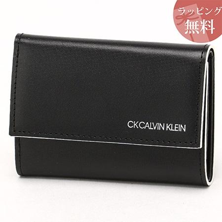 カルバンクライン 財布 メンズ 折財布 三つ折り カードポケット付き ミニカラー ブラック CalvinKlein カルバン クライン ck
