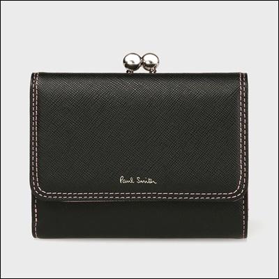 ポールスミス クロスグレイン 口金折財布 ブラック