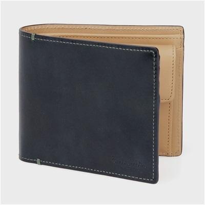 ポールスミス・コレクション PCステインカーフ 二つ折り財布 ネイビー