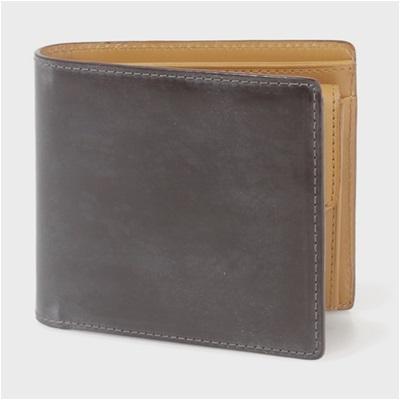 ポールスミス・コレクション PC蝋引きコードバン 二つ折り財布 ダークブラウン