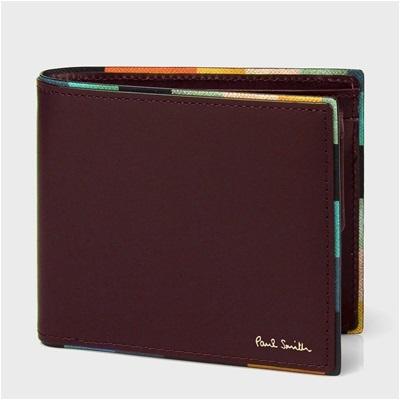 ポールスミス アーティストストライプポップ 二つ折り財布 バーガンディ