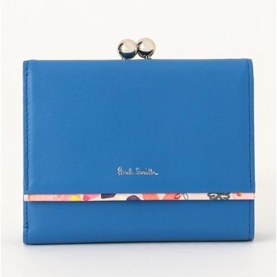 ポールスミス ぺタルプリントトリム 口金二つ折り財布 ブルー PaulSmith ポール・スミス