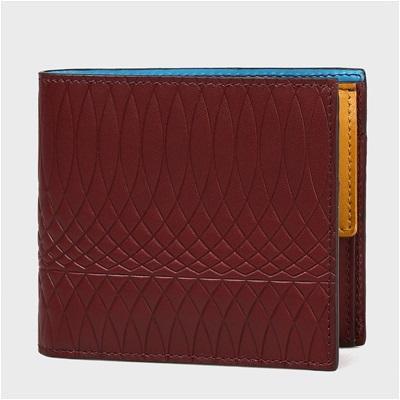 ポールスミス No.9マルチカラーインテリア 二つ折り財布 バーガンディー