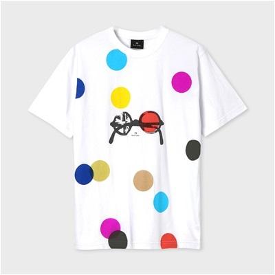 ポールスミス ドット&サングラス プリントTシャツ ホワイト XL