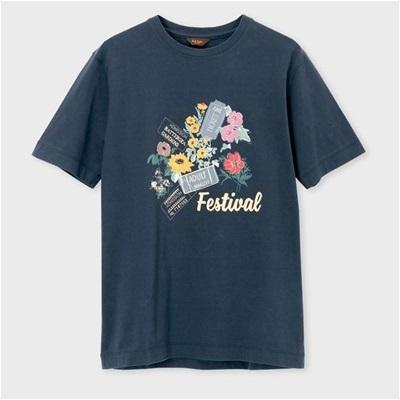 ポールスミス フローラル&チケットプリント Tシャツ ネイビー XL