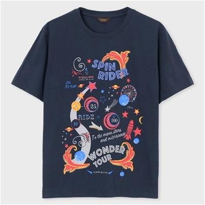 ポールスミス・コレクション スピンライダープリント Tシャツ ネイビー M