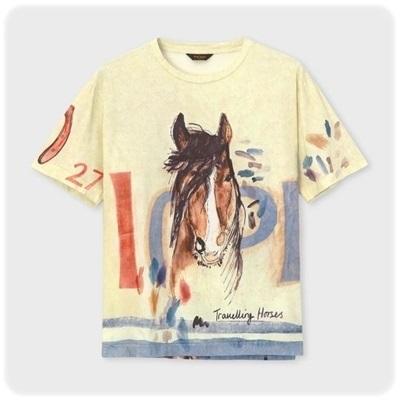 ポールスミス Paul Smith Tシャツ トラベルリングホースプリント ベージュ XL