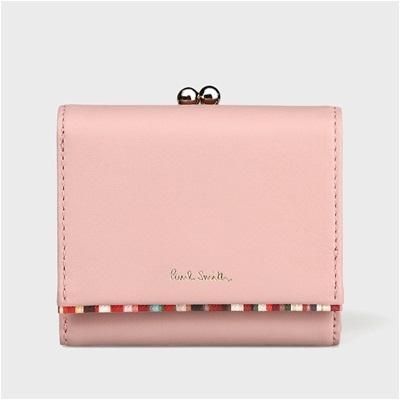 ポールスミス クロスオーバストライプトリム 2つ折り財布 ピンク