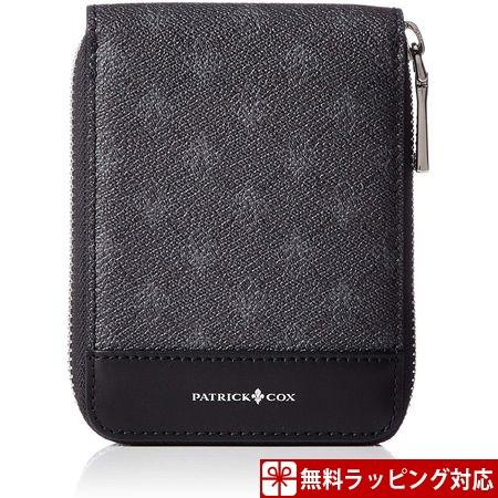 パトリックコックス 折財布 プレイドキングス 小銭入付 ラウンドファスナー二つ折り財布 ブラック PATRICK COX パトリック コックス
