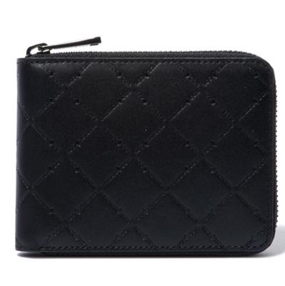 パトリックコックス 折財布 LOGO EMBOSS ラウンドファスナー二つ折財布 ブラック PATRICK COX パトリック コックス