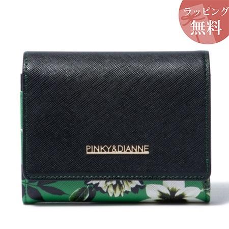 ピンキー&ダイアン 財布 折財布 シャドウフラワー L字ファスナー二つ折り財布 ブラック Pinky&Dianne ピンキー ダイアン ピンダイ