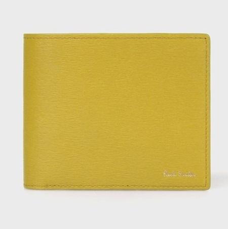 ポールスミス 財布 折財布 メンズ ストローグレインレザー 2つ折り財布 イエロー Paul Smith ポール スミス