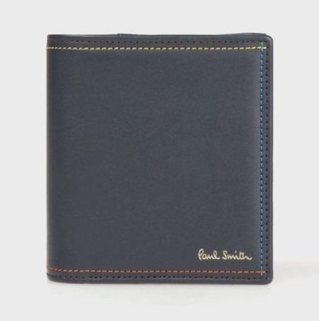 ポールスミス 財布 折財布 ミニ財布 メンズ ブライトストライプステッチ ネイビー Paul Smith
