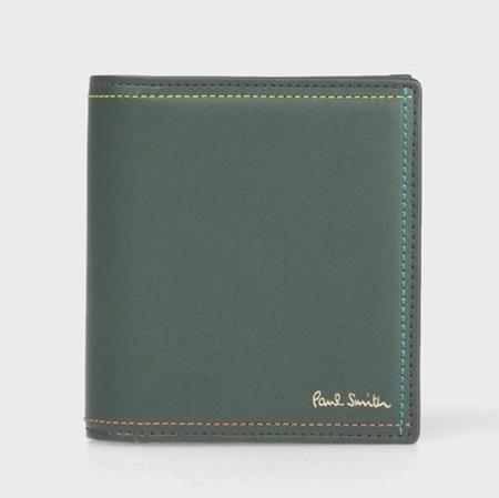 ポールスミス 財布 折財布 ミニ財布 メンズ ブライトストライプステッチ グリーン Paul Smith