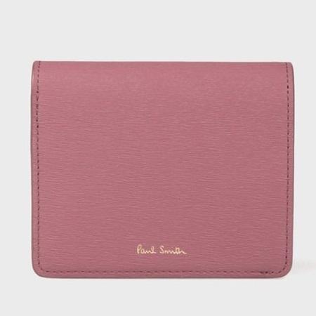 ポールスミス 財布 折財布 レディース ストローグレインレザー 2つ折り財布 ピンク Paul Smith
