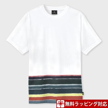 ポールスミス Tシャツ メンズ African Flag ボーダー ホワイト XL Paul Smith ポール スミス