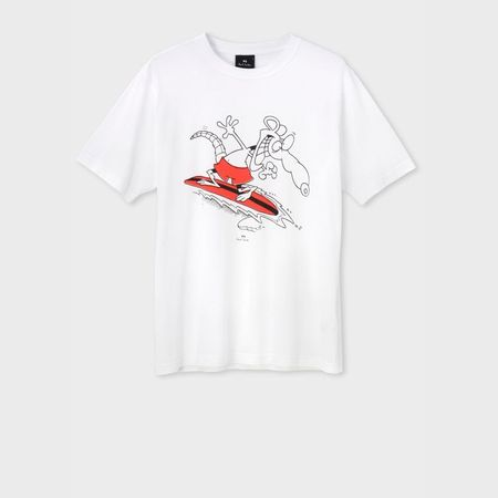 ポールスミス Tシャツ Surfing mouse プリント ホワイト S Paul Smith ポール スミス