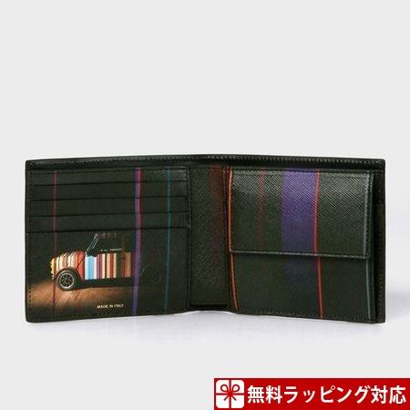 ポールスミス 財布 メンズ 折財布 Mini プリントコレクション 2つ折り財布 ブラック Paul Smith ポール スミス