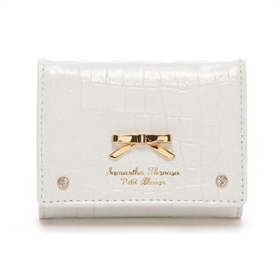 サマンサタバサプチチョイス クロコシンプルリボン ミニ財布 ホワイト