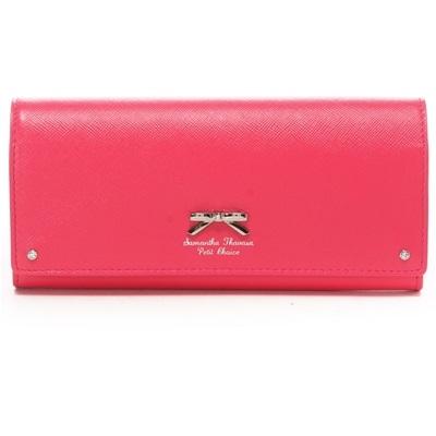 サマンサタバサプチチョイス シンプルリボンプレート(バイカラー) 長財布 フューシャピンク ブランド