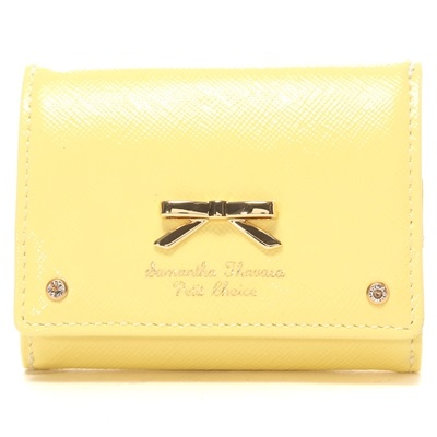 サマンサタバサプチチョイス エナメルシンプルリボン 三つ折りミニ財布 イエロー ブランド