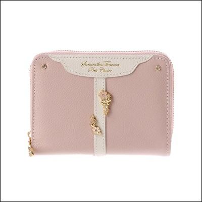 サマンサタバサプチチョイス ベルトフラワーシリーズ 折財布 ピンク