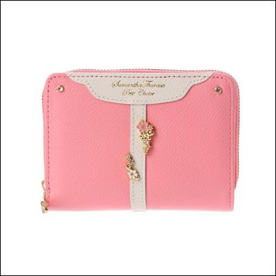 サマンサタバサプチチョイス ベルトフラワーシリーズ 折財布 コーラルピンク