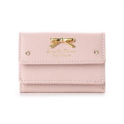 サマンサタバサプチチョイス シンプルリボンプレート シュリンクレザーバージョン ミニ財布 ピンク