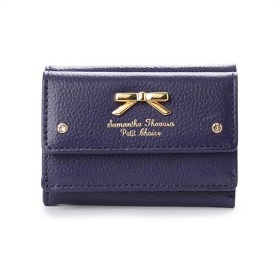 サマンサタバサプチチョイス シンプルリボンプレート シュリンクレザーバージョン ミニ財布 ネイビー