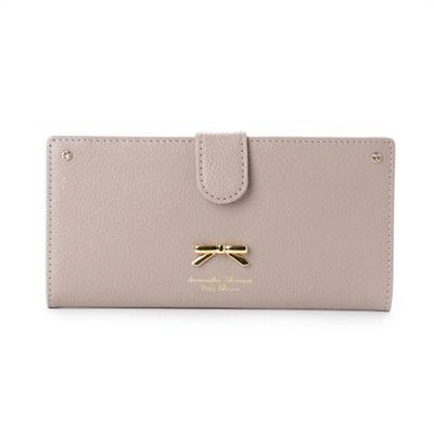 サマンサタバサプチチョイス シンプルリボンプレート シュリンクレザーバージョン 薄型長財布 グレージュ