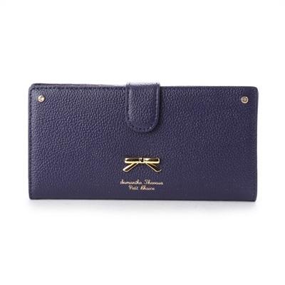 サマンサタバサプチチョイス シンプルリボンプレート シュリンクレザーバージョン 薄型長財布 ネイビー