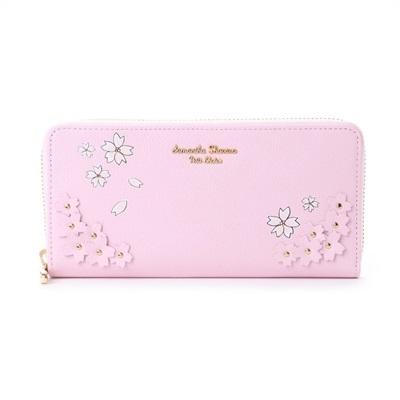 サマンサタバサプチチョイス Lara Collection 日本 サクラ柄お財布シリーズ ラウンドジップ長財布 ピンク