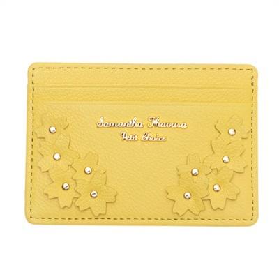 サマンサタバサプチチョイス Lara Collection 日本 サクラ柄お財布シリーズ パスケース 定期入れ イエロー