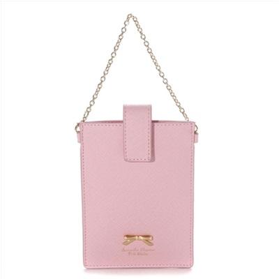 サマンサタバサプチチョイス シンプルリボンプレート 携帯用チェーン付ポーチ ピンク