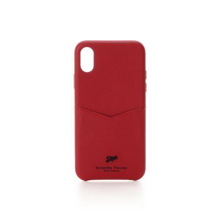 サマンサタバサ モバイルケース 黒メッキロゴ金具iphoneケース X-Xs ワインレッド SamanthaThavasaPetitChoice サマンサ タバサ プチチョイス