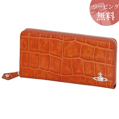330ea5178676 クロコ ラウンドファスナー長財布 オレンジ Vivienne Westwood ヴィヴィアンウエストウッド-メンズ財布