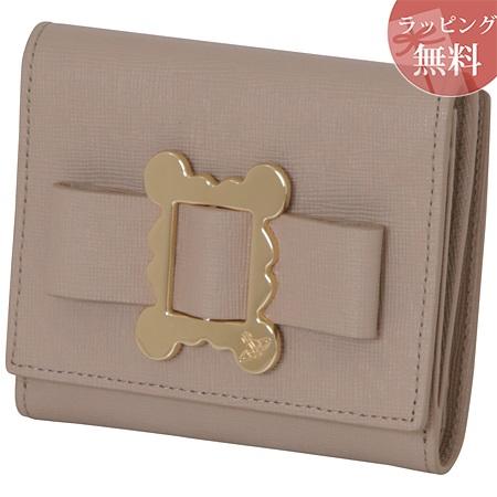 ヴィヴィアンウエストウッド 財布 折財布 二つ折り レディース メタルフレーム ベージュ Vivienne Westwood ヴィヴィアン ウエストウッド