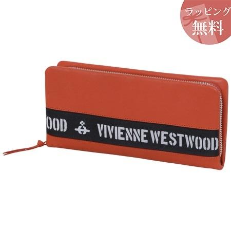 ヴィヴィアンウエストウッド 財布 長財布 ラウンドジップ メンズ ロゴベルト オレンジ Vivienne Westwood ヴィヴィアン ウエストウッド
