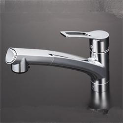 KVK 水栓金具シングルレバー式シャワー付混合栓(シャワー引出し式)【KM5021JT】